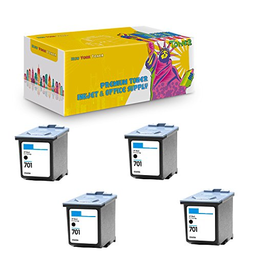 New York TonerTM New Compatible 4 Pack CC635A HP 701 High Yield Inkjet for HP FAX : FAX 640   FAX 650   FAX 2140 - Black