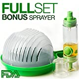 ELLTERA Salad Cutter Bowl- with BONUS Oil Sprayer Set for Easy Dressings- Strain, Slice & Serve Fruits or Veggie Salads Effortlessly & Instantly in Just 60 Seconds-BPA-FREE & Sturdy Salad Bowl Chopper