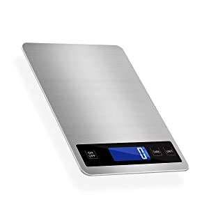 KUBEI Kitchen Scale 33lb Digital Food Scale,1g/0.1oz Precise Graduation, Steel for Baking and Cooking Easy to Clean Stainless Steel andTempered Glass