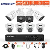 [Full HD] Security Camera System Wired,SMONET 8CH 1080P Surveillance Camera System(2TB Hard Drive),8pcs 2MP Bullet/Dome CCTV Cameras,Super Night Vision,Plug and Play,Free APP,Easy Remote Review Review