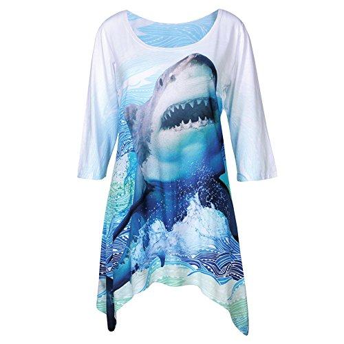 WHAT ON EARTH Women's Great White Tunic Top - 3/4 Sleeves Long Sharkbite Hem Shirt - 2X