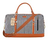 Ulgoo Travel Tote Bag Carry On Shoulder Bag Overnight Duffel in Trolley Handle (Black Stripe Large)