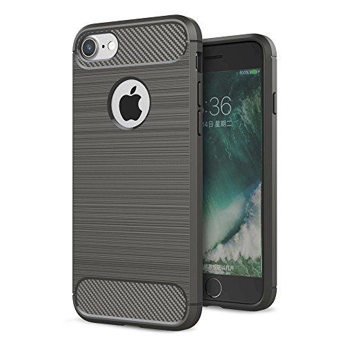 "Apple iPhone 7 8 4.7"" Handy Tasche TPU Case Carbon Skin Brushed Muster Schutz Hülle Bag Grau"