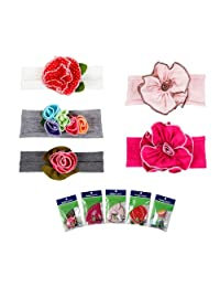 Bundle Monster 5pc Colorful Baby Girls Cotton Pretty Flower Hair Headband- Lot 1