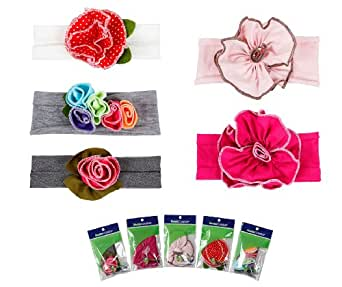 Bundle Monster 5pc Baby Cotton Stretch Pretty Rose Tulip Flower Hair Headband Mixed Color Lot for Girls / Fits 0-4 yrs Toddler- Set 1