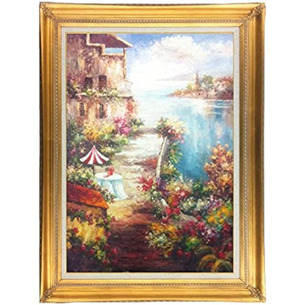 Behrens Art Genre Original Scenic Oil Painting Mediterranean Sea Clouds Balcony Table 24x36 Framed 4 1 2 Gold With Linen Liner 44 1 4 X 32 1 4 Other Frame Options Available Paintings Amazon Com