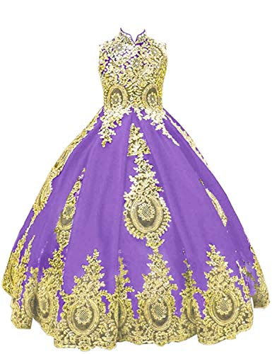 (gsunmmw Gold Lace Flower Girl Dresses for Wedding Beaded Pageant Ball Gown First Communion Dress for Girls GS098)