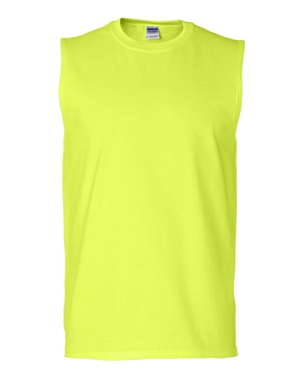 (ギルダン) Gildan メンズ パフォーマンス スポーツベスト ノースリーブ タンクトップ スリーブレスTシャツ 男性用 B014W0VQXS L|グリーン(Safety Green) グリーン(Safety Green) L