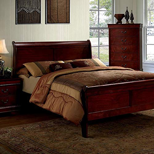 William's Home Furnishing CM7866CH-CK-BED Louis Philippe iii Platform, King, Cherry