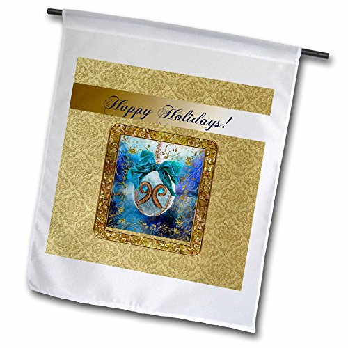 Damask Holiday Photo - 3dRose Beverly Turner Christmas Design - Aqua Blue Round Ornament, Gems, Bow, Frame, Damask, Happy Holidays - 18 x 27 inch Garden Flag (fl_267923_2)