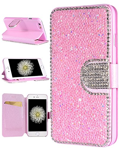 iPhone 6s Plus Case, FLYEE Handcraft Luxury Bling Rhinestone Wallet Case Ultrathin Magnetic Kickstand Crystal Leather Book Cover for Apple iPhone 6s/iPhone 6 Plus 5.5 Inch-Pink (Bling Iphone6 Pink Case)