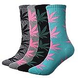 ZZ Socks Mens Boys Colorful Weed Leaf Print Socks Marijuana Tube Socks 4 Pairs