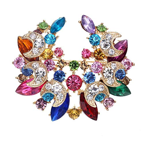 Crystal Wedding Flower Brooch Rhinestone Flower Round Wreath Pin Banquet for Women ()