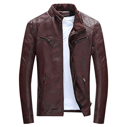LISUEYNE Mens PU Leather Jackets Slim Smart Fit Fleece Jacket Coat Spring Outwear