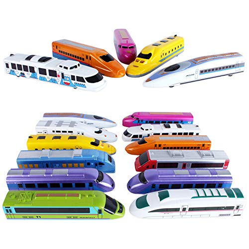 (CORPER TOYS Bullet Train Pull Back Toy High Speed City Train Modern Locomotives for Kids Toddle Boys - Bundle of 12)