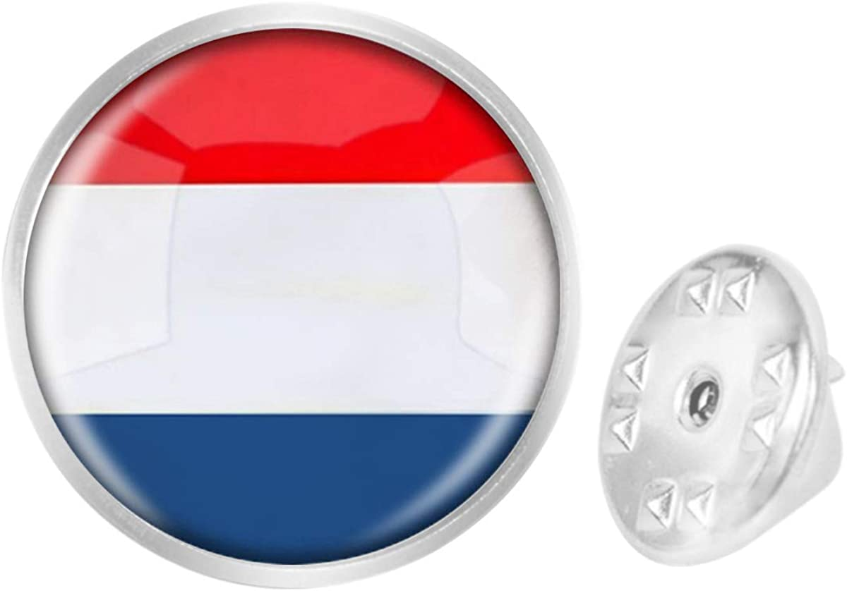 WAZZIT Round Metal Tie Tack Hat Lapel Pin Brooches The Kingdom of Netherlands National Flag Banquet Badge Enamel Pins Trendy Accessory Jacket T-Shirt