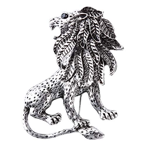 DearAnswer Vintage Lion Brooch Charm Animal Design Suit Lapel Pins Jewelry Accessories,Silver