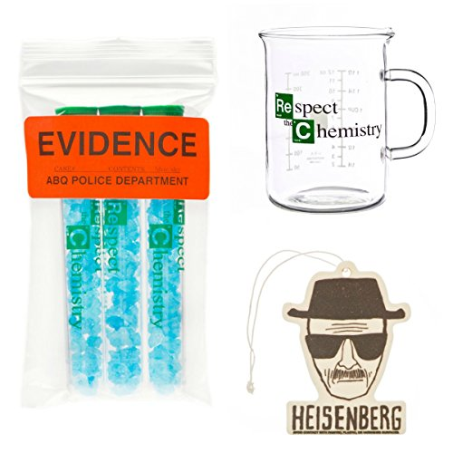 Walter White 3 Pack: Beaker Mug, Blue Sky Candy & Heisenberg Air Freshener -