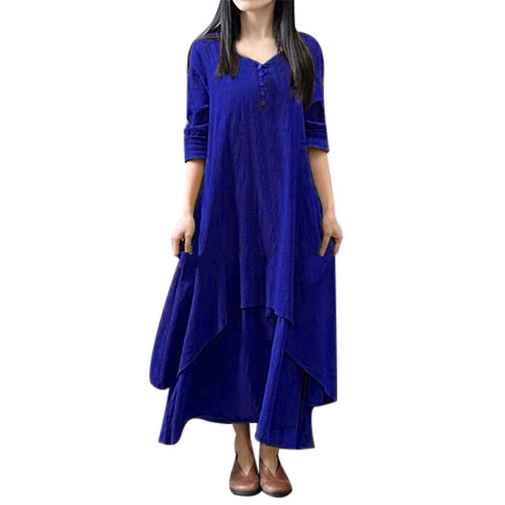 Damen Kleider Langarm Beiläufiger Lose Baumwolle Leinen Boho Langes Kleid Unregelmäßiges Kleid Reasoncool-DD