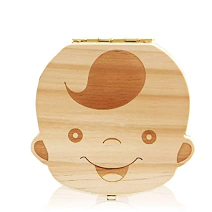 Leisial Boîte Dents de Lait pour Bébé Dents de Lait Rangement Enregistrer  Cadeaux Boîte en Bois pour Enfants Garçon et Fille Version ...
