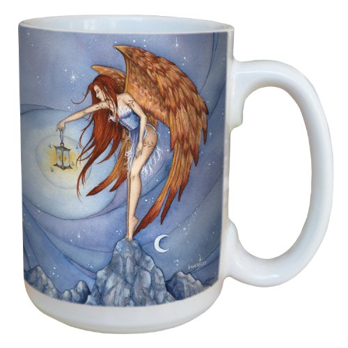 Tree-Free Greetings lm43600 Fantasy Lighting The Way Fairy Ceramic Mug with Full Sized Handle by Amy Brown, 15-Ounce