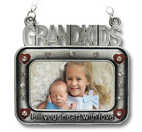 Pewter Baby Frame Finish (Grandkids Christmas Ornament - Square Picture Frame Ornament Embossed with Grand Kids Fill Your Heart with Love - New Grandparents Christmas Ornament)