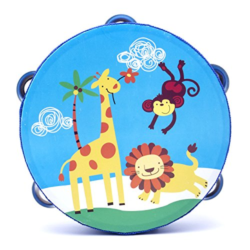 Peg Hammer 18cm Baby Hand Drum Wooden Flower Tambourine Percussion Instrument (Giraffe Lion)