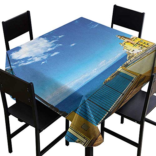 (SKDSArts Square Tablecloth Wood Italian,Camogli Building Sea Lamp and Balcony Tourist Spot in Ligury Italy Print, Blue White and Yellow,W54 x L54 for Cards)