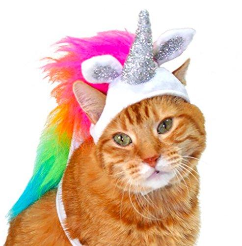 Pets Halloween (Cat Halloween Costume Unicorn, Full Body Pet Costume)
