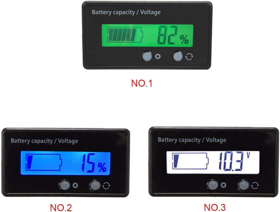 12V-48V Plomb-Acide au Lithium LCD Voltm/ètre Compteur Capacit/é testeur de Batterie Indicateur Analyseur 12V 24V 48V fgyhty