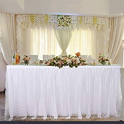 Faldones de mesa de tul, para mesa rectangular, diseño de flor ...