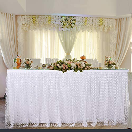 Leegleri 9ft Tulle Table Skirt for Rectangle or Round Table White Tutu Table Skirt with Silver Plum Embroidered for Baby Shower Party Wedding Birthday Decoration