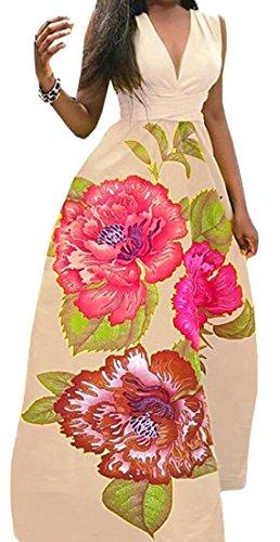 Maxi Flower Swing Light V Fashion Dress Women's Khaki Sleeveless Neck Party Deep Cromoncent TzOAnaWqg