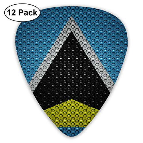 Saint Lucia Flag Metal Bendy Ultra Thin 0.46 Med 0.73 Thick 0.96mm 4 Pieces Each Base Prime Plastic Jazz Mandolin Bass Ukelele Guitar Pick Plectrum Display ()