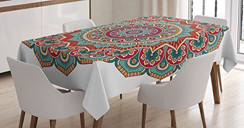 Mandala Tablecloth by Ambesonne, Traditional Indian Circle Meditation Folk Spiritual Culture Print, Dining Room Kitchen Rectangular Table Cover, 60W X 84L Inches, Turquoise Teal Orange Red