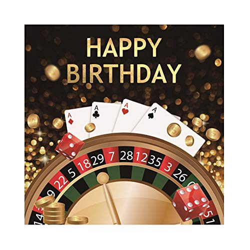(CSFOTO 8x8ft Happy Birthday Backdrop for Boys Men Birthday Party Background for Photography Men Birthday Party Decoration Banner Casino Style Poker Dice Adults Girls Portrait Studio Props)