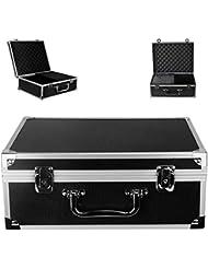 "Tattoo Kit Box - Yuelong Tattoo Machine Case Box 12.6"" x 9.5"" x 5.1"" W/Lock Key Aluminum Makeup Carry Box Storage Case with Sponge for Tattoo Equipment Microblading supplies(Black)"