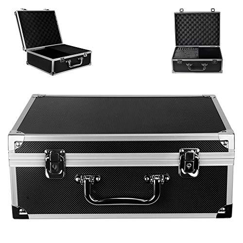 Tattoo Kit Box – Yuelong Tattoo Machine Case Box 12.6″ x 9.5″ x 5.1″ W/Lock Key Aluminum Makeup Carry Box Storage Case with Sponge for Tattoo Equipment Microblading supplies(Black)