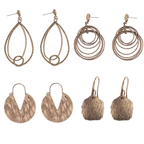 Coolcoco Luxury Fashion Dangler Tassel Dangle Earrings for Lady Woman Girls Prime Bronze (4 pairs/set) ()
