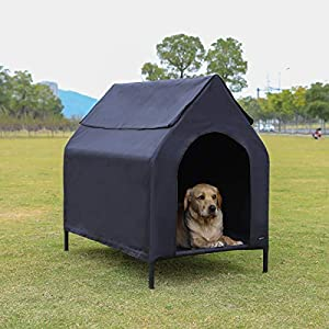 Amazon Basics – Caseta para mascotas, elevada, portátil, mediana, negra