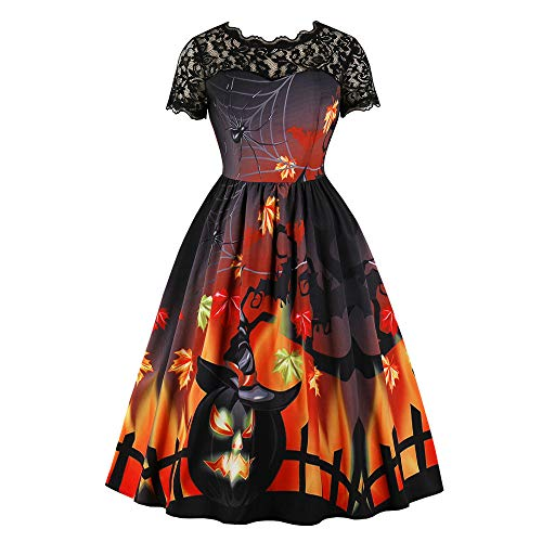 Halloween Stripping Costume (charmsamx Womens Halloween Dress Lace Patchwork Halloween Costume Rockabilly Cocktail Party Dress Scary Pumpkin Skater Swing Dress Maple Bat Printed A-line Lace)