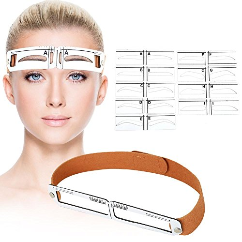 Eyebrow Shaping Tools Set, Eyebrow Ruler band with Hook and Loop Fasteners+ 9 Eyebrow Shape Card+ Marker Pen+Alcohol Pad