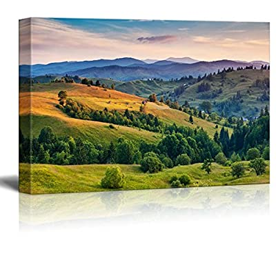 Canvas Prints Wall Art - Beautiful Green Hills at Dusk. Carpathian, Ukraine, Europe. Beauty World. - 24