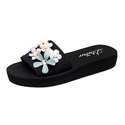 3717ffd8e Women Flowers Slippers Ladies Low Heel Round Toe Pearl Platform Beach Sandals  Fashion Casual Summer Outdoor