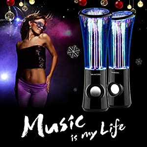 SoundSOUL Dancing Water Speakers LED Speakers Water Fountain Speakers Mini Music Amplifier(6 Colored LED Lights,Dual 3W Speakers,perfect Birthday/Thanksgiving /Christmas Gift for your family) - Black