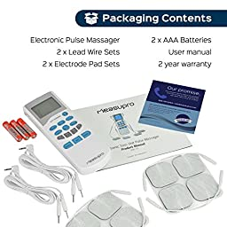 MeasuPro Portable Electro Massage Handheld Electronic Tens Unit Pulse Massager for Pain Management, Back Pain, and Rehabilitation, CE, FDA Approved