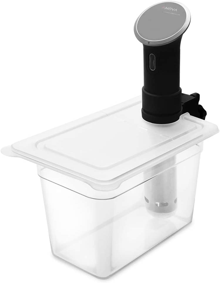 Anova Cooker Not Included EVERIE Sous Vide Container 7 Quart with Collapsible Hinge Lid and Sous Vide Rack for Anova Bluetooth or WiFi Models