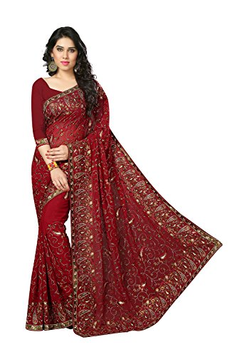 Latest itsindiancrafty Indian Sarees for Women Wedding Designer Party Wear Traditional Merron Saree. Saree 10