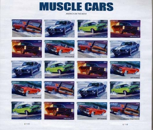 (Muscle Cars, Full Sheet of 20 Forever Postage Stamps, USA 2013, Scott 4743-47 by USPS)