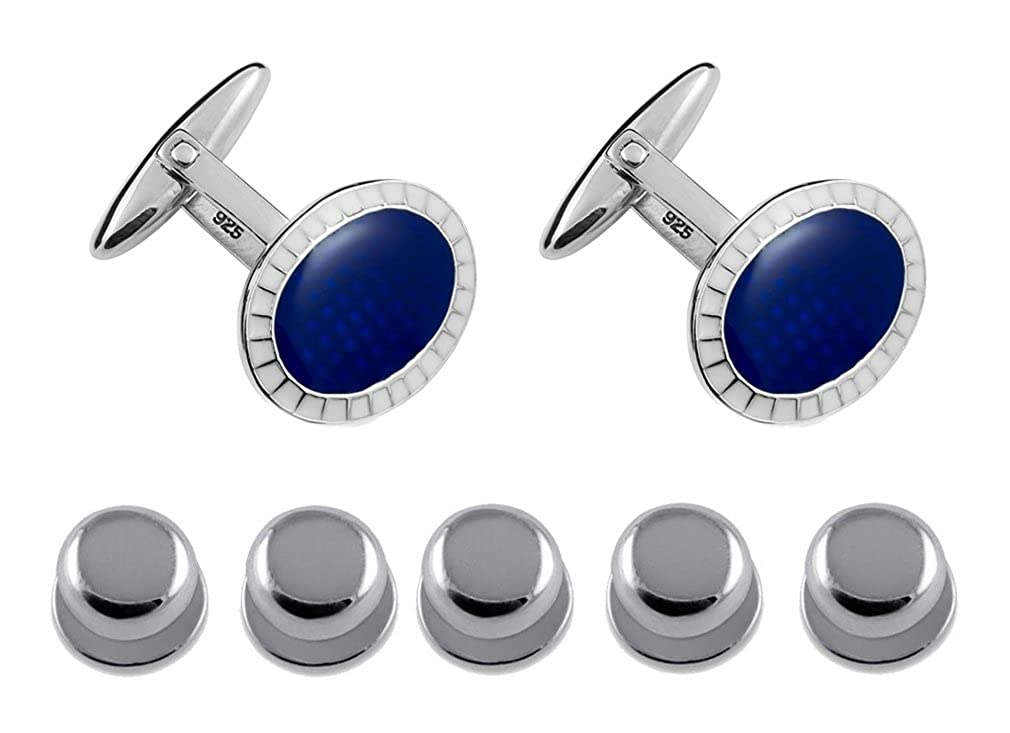 Sterling Silver Oval Blue with white boarder Cufflinks Shirt Dress Studs Gift Set